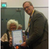 Susan Carson, Vice of LDDA receives her Honoury Life Membership of LDDA from Cllr David Buxton - in recognition of her work for LDDA