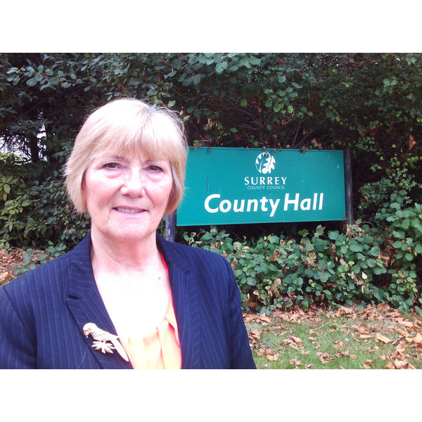 Cllr Fiona White outside Surrey County Hall